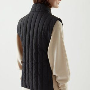 COS Black Quilted Equestrian Puffer Vest Jacket